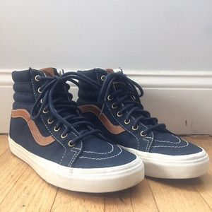 Vans blue canvas high tops